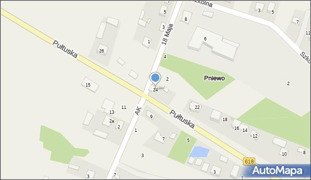Pniewo, Pułtuska, 24, mapa Pniewo