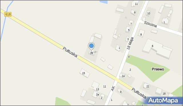 Pniewo, Pułtuska, 26, mapa Pniewo
