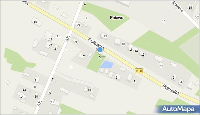 Pniewo, Pułtuska, 5, mapa Pniewo