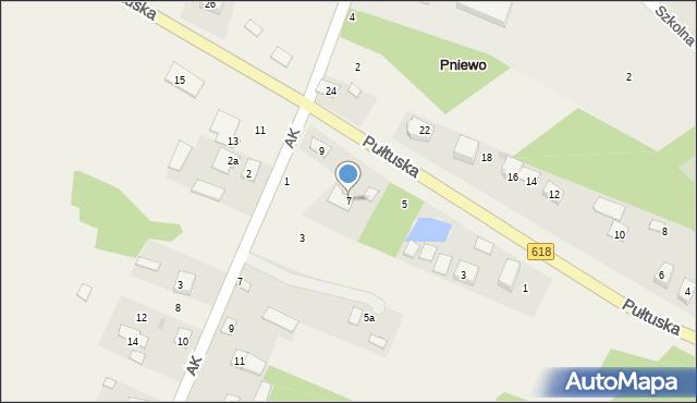 Pniewo, Pułtuska, 7, mapa Pniewo