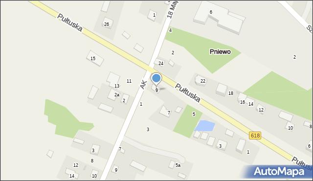 Pniewo, Pułtuska, 9, mapa Pniewo