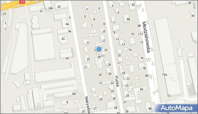 Radom, Pucka, 16, mapa Radomia