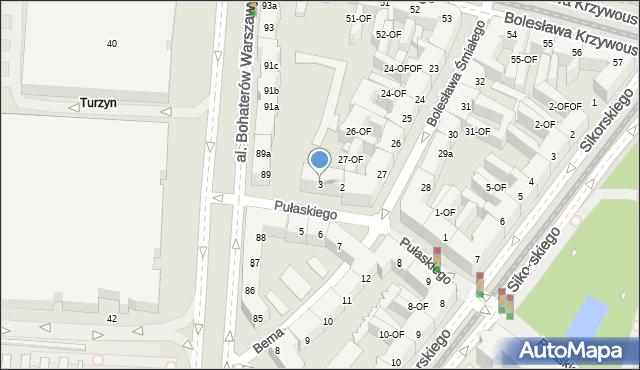Szczecin, Pułaskiego Kazimierza, gen., 3, mapa Szczecina