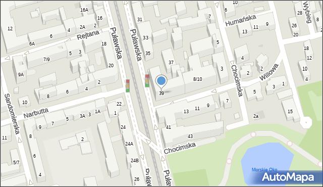 Warszawa, Puławska, 39, mapa Warszawy