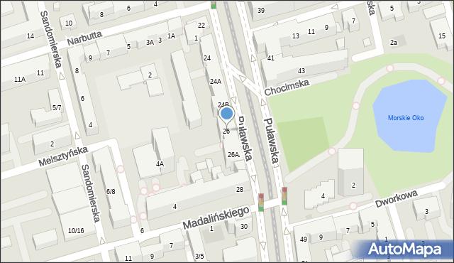 Warszawa, Puławska, 26, mapa Warszawy