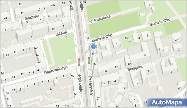 Warszawa, Puławska, 61, mapa Warszawy