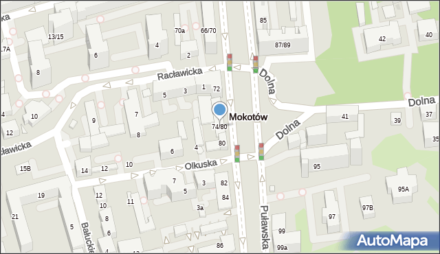 Warszawa, Puławska, 74/80, mapa Warszawy