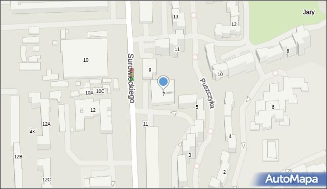 Warszawa, Puszczyka, 7, mapa Warszawy
