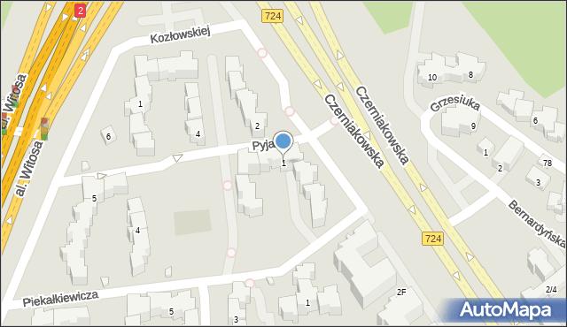 Warszawa, Pyjasa Stanisława, 1, mapa Warszawy