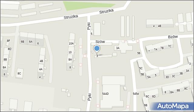 Zabrze, Pyki Jana, 3, mapa Zabrza