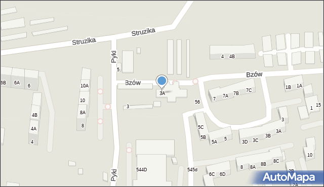 Zabrze, Pyki Jana, 3A, mapa Zabrza