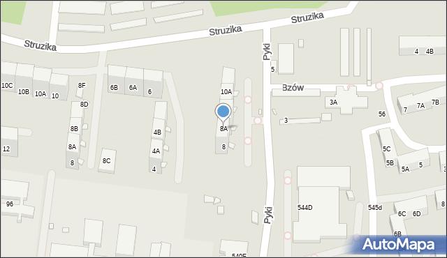 Zabrze, Pyki Jana, 8A, mapa Zabrza