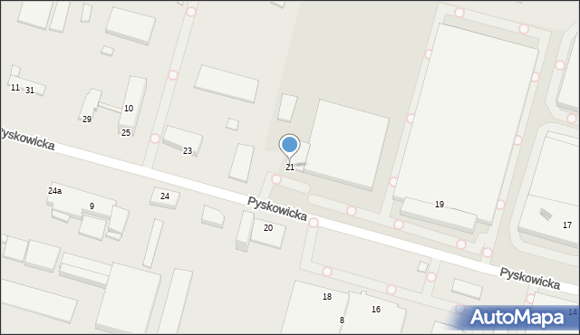 Zabrze, Pyskowicka, 21, mapa Zabrza