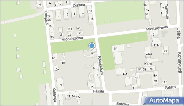 Bytom, Racławicka, 10, mapa Bytomia