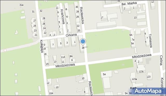 Bytom, Racławicka, 16, mapa Bytomia