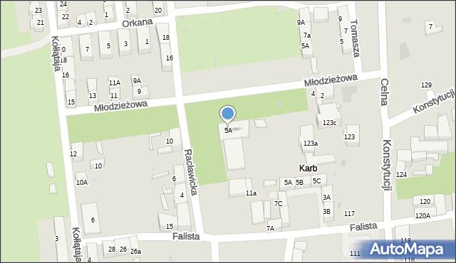 Bytom, Racławicka, 5A, mapa Bytomia