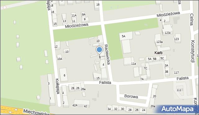 Bytom, Racławicka, 6, mapa Bytomia