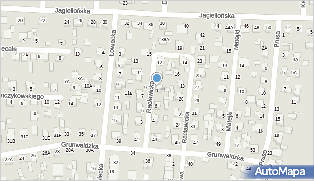 Chełm, Racławicka, 8, mapa Chełma