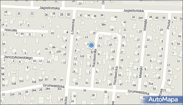 Chełm, Racławicka, 9, mapa Chełma