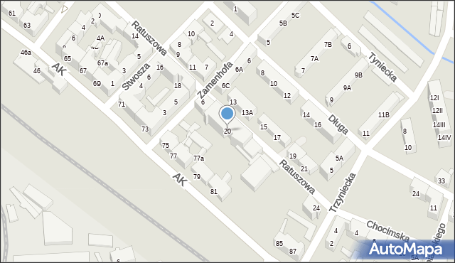 Chorzów, Ratuszowa, 20, mapa Chorzów