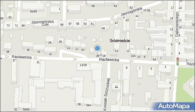 Częstochowa, Racławicka, 18, mapa Częstochowy