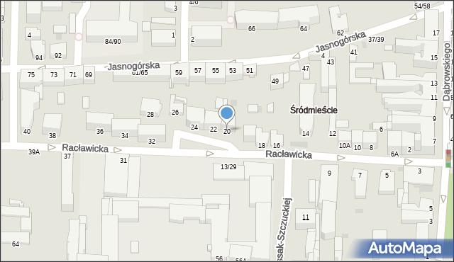 Częstochowa, Racławicka, 20, mapa Częstochowy