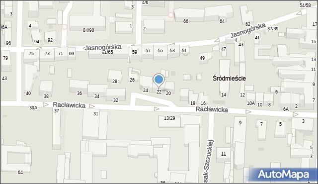 Częstochowa, Racławicka, 22, mapa Częstochowy