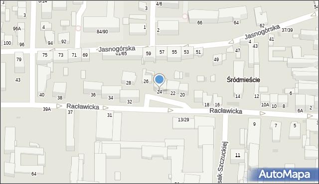 Częstochowa, Racławicka, 24, mapa Częstochowy