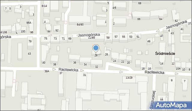 Częstochowa, Racławicka, 28, mapa Częstochowy