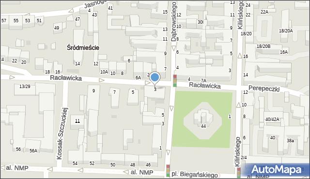 Częstochowa, Racławicka, 3, mapa Częstochowy