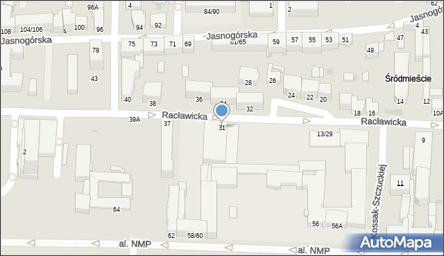 Częstochowa, Racławicka, 31, mapa Częstochowy