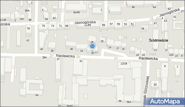 Częstochowa, Racławicka, 32, mapa Częstochowy