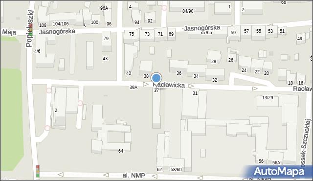 Częstochowa, Racławicka, 37, mapa Częstochowy