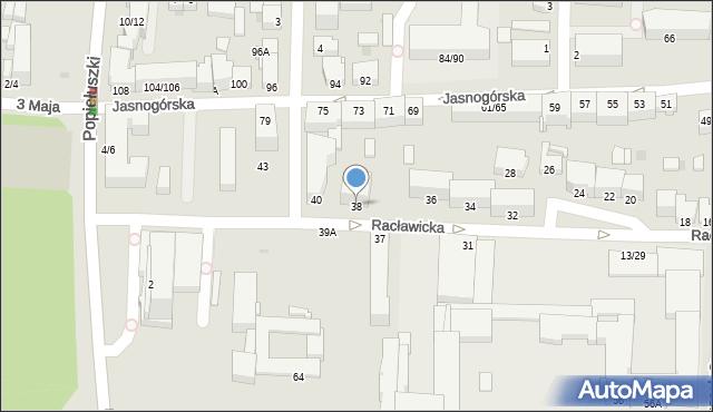 Częstochowa, Racławicka, 38, mapa Częstochowy