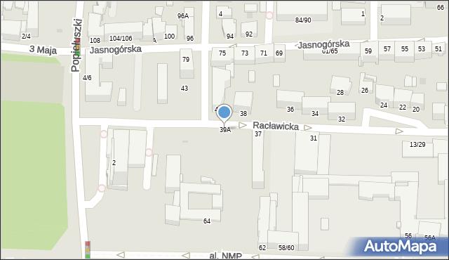 Częstochowa, Racławicka, 39A, mapa Częstochowy