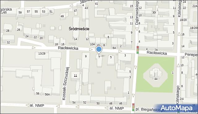 Częstochowa, Racławicka, 7, mapa Częstochowy