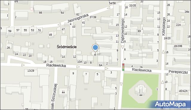 Częstochowa, Racławicka, 8a, mapa Częstochowy