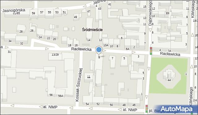 Częstochowa, Racławicka, 9, mapa Częstochowy