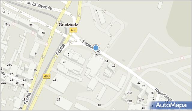 Grudziądz, Rapackiego, 10, mapa Grudziądza
