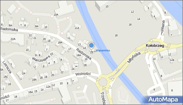 Kołobrzeg, Radomska, 15, mapa Kołobrzegu