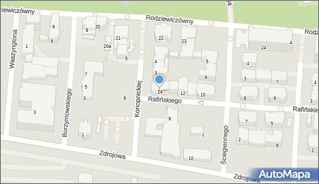 Kołobrzeg, Rafińskiego Teodora, prof., 14, mapa Kołobrzegu