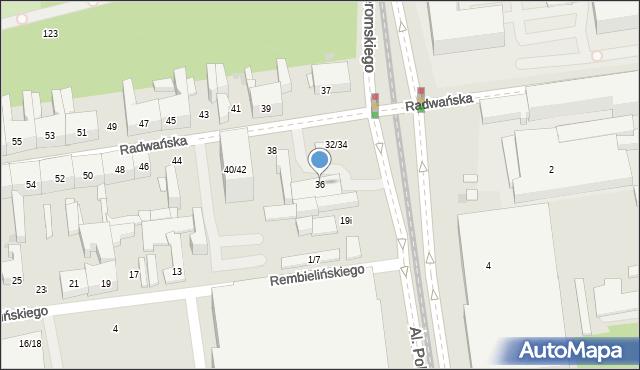 Łódź, Radwańska, 36, mapa Łodzi
