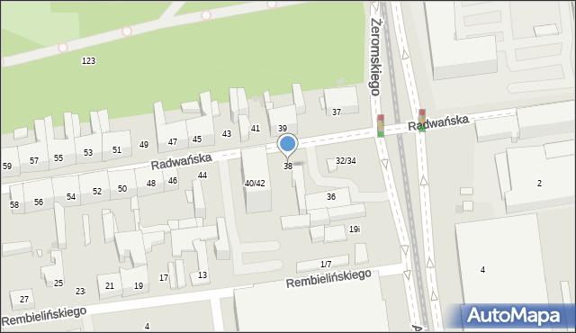 Łódź, Radwańska, 38, mapa Łodzi