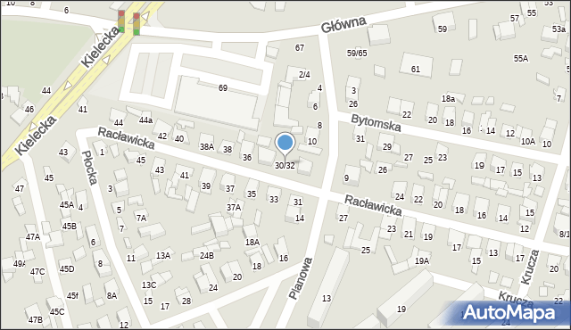 Radom, Racławicka, 30/32, mapa Radomia
