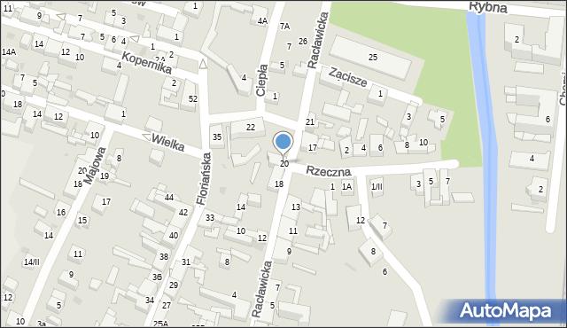 Sosnowiec, Racławicka, 20, mapa Sosnowca