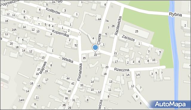 Sosnowiec, Racławicka, 22, mapa Sosnowca