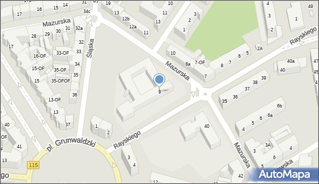 Szczecin, Rayskiego Ludomiła, gen., 9, mapa Szczecina