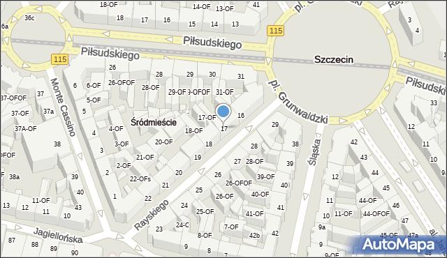 Szczecin, Rayskiego Ludomiła, gen., 17, mapa Szczecina
