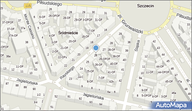 Szczecin, Rayskiego Ludomiła, gen., 26, mapa Szczecina