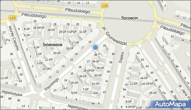 Szczecin, Rayskiego Ludomiła, gen., 28, mapa Szczecina